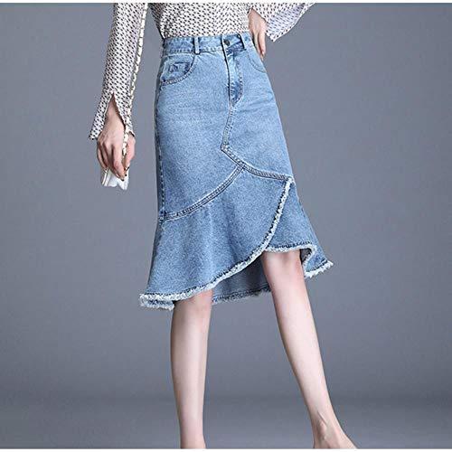 MU-PPX Plus Size Rüschen Saum Patchwork Röcke Weibliche Hohe Taille Zerrissen Quaste Jeansrock Schwarz Blau Figurbetonten Rock