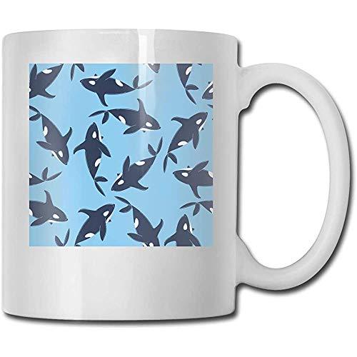 Cartoon Sea Whales Print Haben Sie einen schönen Tag Lustige Keramik Tasse Kaffeetasse Tasse Tee Tasse