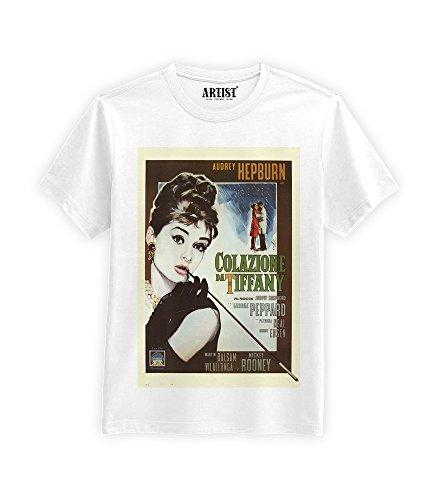 ARTIST T-Shirt Colazione da Tiffany Poster Film Hepburn (XS, Bianco)