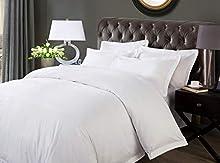 Sábana tamaño Doble, 230 cm x 200 cm, Blanco, 200 Hilos, 100% algodón orgánico, Calidad de Hotel de Lujo, Elegante, Transpirable
