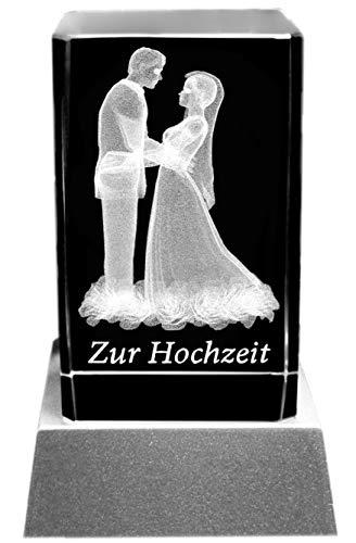 Kaltner Präsente - Bloque de cristal con iluminación LED, diseño grabado con rosa en 3D - Pareja nupcial a la boda