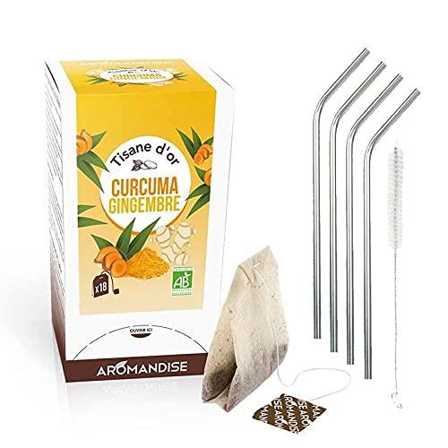 Té de hierbas orgánico con cúrcuma y jengibre 20 bolsitas + 4 pajitas de acero inoxidable
