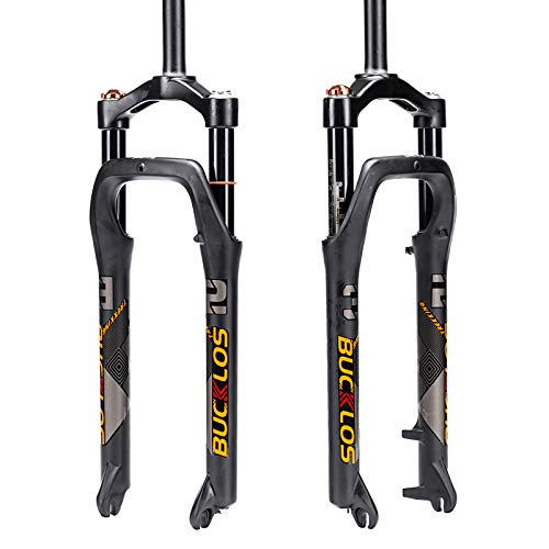 BUCKLOS 【Uk Stock】 26 * 4.0 inch Fat Bike Air Suspension Fork 120mm Travel, Spacing Hub 135mm 28.6mm Straight Tube Crown Lockout 9mm QR Ultralight Front Forks, fit Snow Beach Mountain Bike