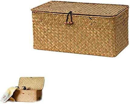 Chytaii - Cestas de mimbre con tapa de mimbre natural tejida, caja de almacenamiento rectangular pequeña