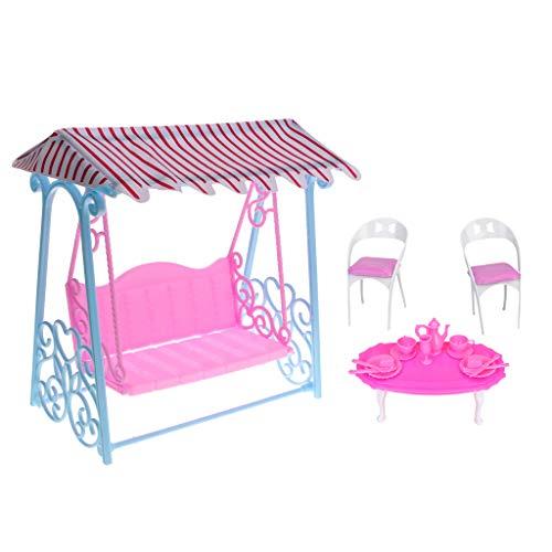 SM SunniMix Silla de Mesa de Jardín en Miniatura Juego de Columpios Accesorios de Casa de Muñecas para Doll