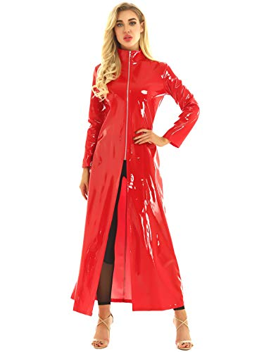 Yeahdor Unisex Wetlook Jacke PVC Leder Mantel Latex Lingerie Gothic DS Kostüm Matrix Lang Mantel Umhang Party Cosplay Erotik Clubwear Rot XL