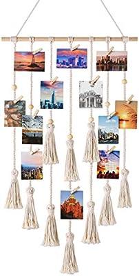 Mkono Hanging Photo Display Macrame Wall Hanging Pictures Organizer