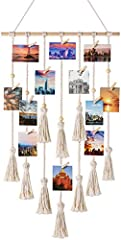 ✔ Macrame wall decor photo display is a casual, artistic way to show your favorite photos and prints. Hanging on the wall, your home would become more attractive and sweet. Perfect decoration for bedroom, dorm room, office, living area, cafe and othe...