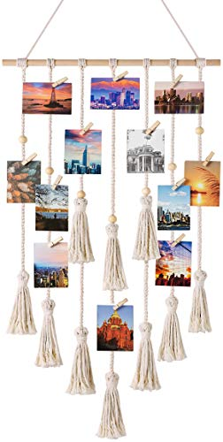 Mkono Hanging Photo Display Macrame Wall Hanging Pictures Organizer Boho Home Decor, with 30 Wood Clips, Ivory