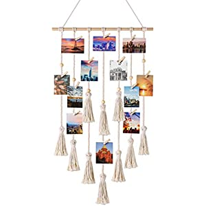 Mkono Hanging Photo Display Macrame Wall Hanging P...