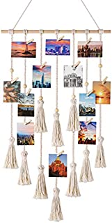 Mkono Hanging Photo Display Macrame Wall Hanging Pictures Organizer Boho Home Decor, with 30 Wood Clips, Birthday, Ivory (B07L4BB5G2) | Amazon price tracker / tracking, Amazon price history charts, Amazon price watches, Amazon price drop alerts