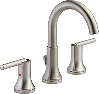 Delta Faucet Trinsic 2-Handle Widespread Bathroom Faucet with Diamond Seal Technology and Metal Drain Assembly, Stainless 3559-SSMPU-DST
