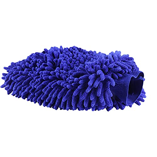 UYYE Chenille Car Wash Mitt, Ultra Absorbent Microfiber Mitt for Cars, Trucks, SUV, Boat & Motorcycle, Blue( 1-Pack, Extra Large