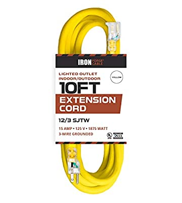 Lighted Outdoor Extension Cords - 12/3 SJTW Heavy Duty Yellow Extension Cords - 5 Lengths to Choose From!