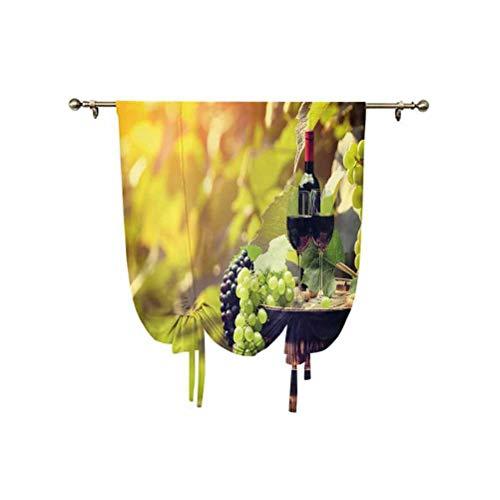Cortina pequeña para ventana, diseño de agricultura, paisaje, natural, bebidas alcohólicas y frutas, con aislamiento térmico, 95 x 150 cm, para sala de estar, cortina romana, verde y negro