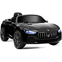 HONEY JOY Maserati Ghibli 12V Licensed Maserati Gbili Electric Vehicle with 2 Motors, 2.4GH Remote Control, LED Lights, MP3, Horn, Music, Spring Suspension, 2 Lockable Doors (Black)