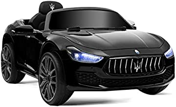 HONEY JOY Ride on Car, Licensed Maserati Gbili 12V Battery Powered Electric Car for Kids with 2 Motors, Remote Control, LED Lights, MP3, Horn, Music, Wheel Suspension, 2 Lockable Doors (Black)
