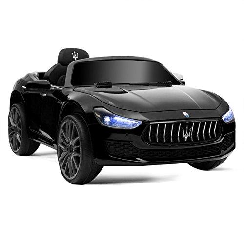 HONEY JOY Ride on Car, Licensed Maserati Gbili 12V Battery Powered Electric Car for Kids with 2 Motors, Remote Control, LED Lights, MP3, Horn, Music, Wheel Suspension, 2 Lockable Doors (Black)