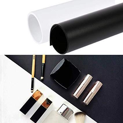 Selens PVC Hintergrund 50x100cm Wasserdicht Fotografie Hintergründe Matte Background für Fotografie Fotostudio 2 Stück (Schwarz und Weiß)