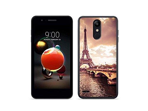 etuo Handyhülle für LG K9 - Hülle Foto Hülle - Seine & Eiffelturm - Handyhülle Schutzhülle Etui Hülle Cover Tasche für Handy