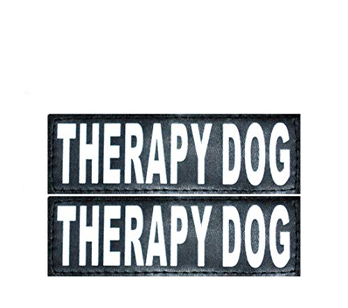 Set of 2 Reflective Therapy Dog Removable Patches for Service Dog Harnesses & Vests. (Large 6 x 2)