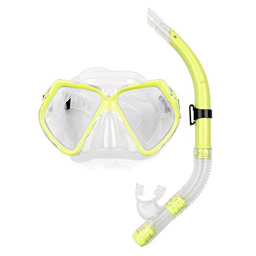 SKITCH Juego de esnórquel para adultos - Gafas de natación Equipo de snorkel Vidrio templado Una lente de ventana Amplia vista Máscara de buceo y Dry Top Snorkel para nadar Snorkel