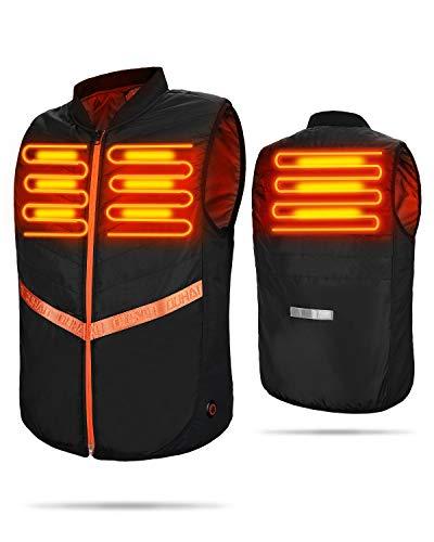ISSYZONE Gilet Riscaldato Moto, Gilet Elettrico Riscaldato USB Giubbotto Riscaldato Donna e Uomo con 7000mAh Powerbank 5V Temperatura Regolabile per Sci Escursionismo Caccia Moto Campeggio