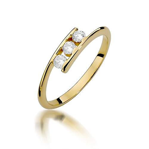 Women's Solitaire Promise Ring Engagement Ring 585 14k Yellow Gold Natural Real Diamond Diamonds