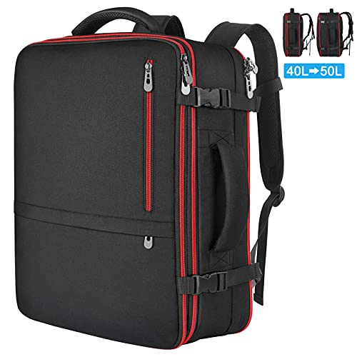 Extra Large Carry on Backpack, Airline Flight Approved Travel Backpack for Women Men, 40L-50L Expandable Luggage Backpack Water Resistant Daypack for 17 17.3 18 18.4 Inch Laptop, Black