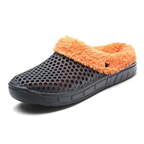 DALLL Pantuflas de invierno para hombre y mujer, cómodas pantuflas para exterior, impermeables, dos materiales cálidos, gris, 9(M)