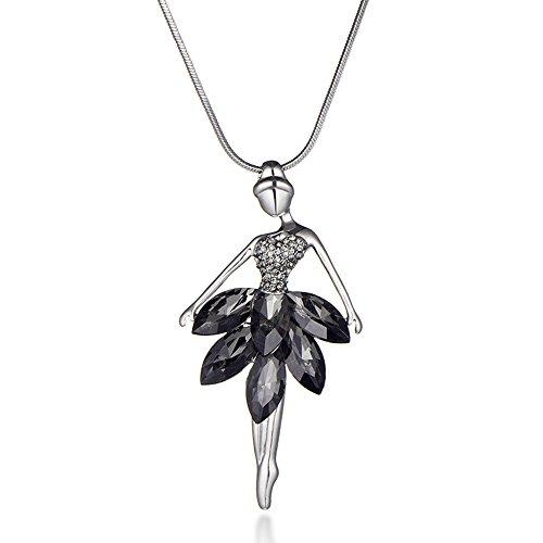 Collana da donna Collana con pendente a forma di ballerina abbagliante con cristallo lucido per collana a catena lunga placcata oro da donna (Grigio)
