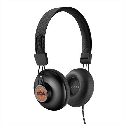 House of Marley Positive Vibration 2 Cuffie Over Ear con Microfono Incorporato, Driver da 40 mm, Cuffia Pieghevole con Lungo Cavo, Materiali Sostenibili, Nero
