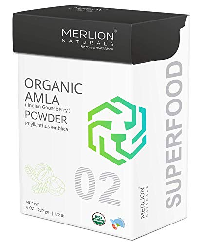MERLION NATURALS Organic Amla Powder | Philanthus emblica/Indian Gooseberry | USDA NOP Certified 100% Organic