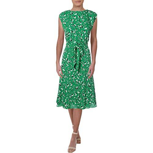 LAUREN RALPH LAUREN Vilodie Damen-Sommerkleid mit Gürtel, Blumenmuster - Grün - 38