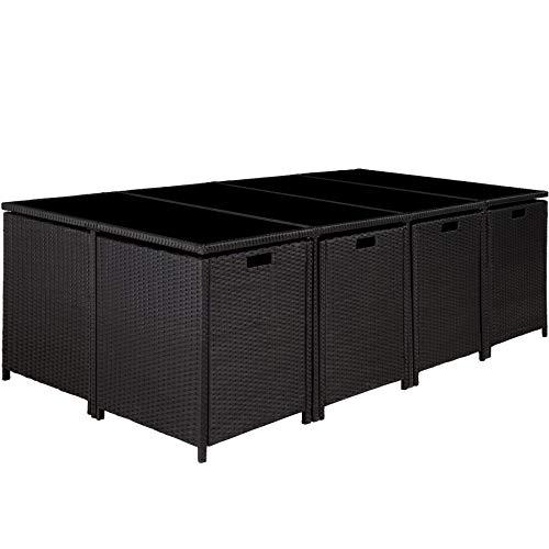 TecTake Poly Rattan 8+4+1 Sitzgruppe | 8 Stühle 4 Hocker 1 Tisch | inkl. Schutzhülle & Edelstahlschrauben | - Diverse Farben - (Schwarz | Nr. 402831) - 4