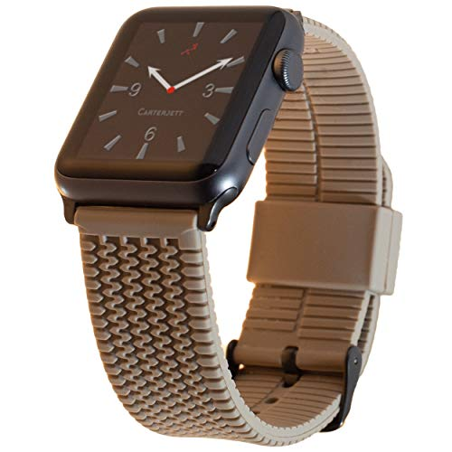 Carterjett Compatible Apple Watch Sport Band Silicone Tire Tread 42mm 44mm iWatch Band Replacement Strap Light Brown Gray Hardware New Series 4 3 2 1 Nike Sport Edition, 42 44 M/L Tan