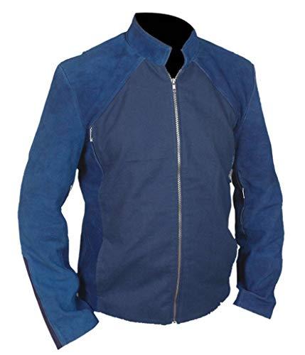 Flesh & Hide F&H Men's Captain America Winter Soldier Genuine Suede Leather Jacket 2XL Blue