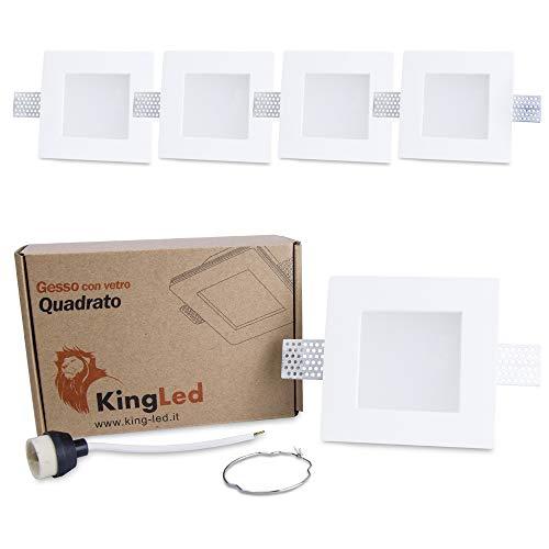 KingLed - 5x Portafaretto da Incasso In Gesso Ceramico Quadrato Con Vetrino Opalino per Faretto Gu10 e Mr16 - Dimensione 120x120x64mm Cod. 1425