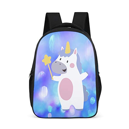 Lightweight Unicorn with Fairy Stick Kids Backpack Zipper Closure -Unicorn Schoolbag for Kindergarten Bright Gray OneSize