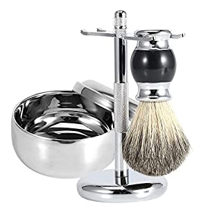 Men's Shaving Kit,3 Pcs Badger Hair Shaving Brush Gift Set(Soft Brush with Wooden Handle+ Alloy Soap Mug Bowl+Stainless Steel Razor Stand)
