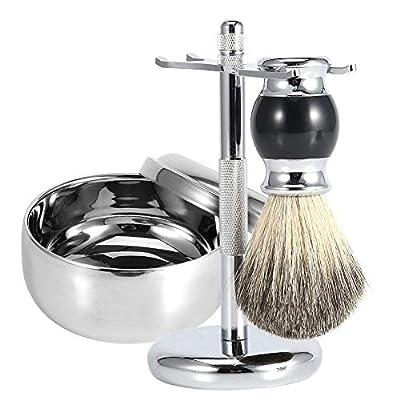 Men's Shaving Kit,3 Pcs Badger Hair Shaving Brush Gift Set(Soft Brush with Wooden Handle+ Alloy Soap Mug Bowl+Stainless Steel Razor Stand)
