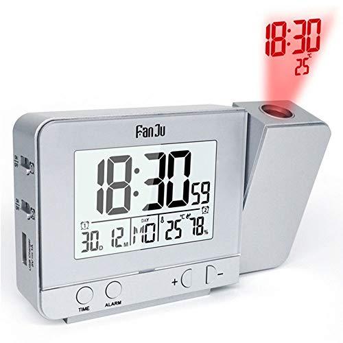 CXZC Funk Projektionswecker: Projektions-Funkwecker, Thermo-/Hygrometer, 2 Weckzeiten, USB-Ladeport (Wecker mit Mehreren Weckzeiten)