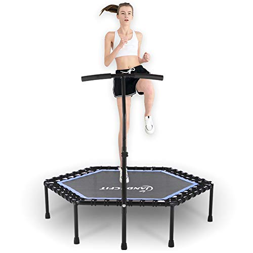 Jandecfit 48' Silent Mini Trampoline Fitness Rebounder With Adjustable Armrest, Small Gym Trampoline for Indoor Fitness, Bungee Rope Design System, the Best Choice for Aerobic Exercise, Bearing 330lbs
