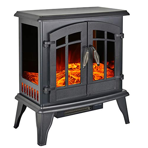 23' Electric Fireplace Heater,1500W Freestanding Stove Portable Fireplace Heater with Realistic Log Frame, Black