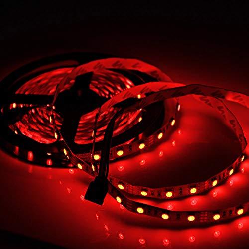 Bedler 5M DC 12V LED 5050 Tiras de Luz 300LED Tira de Luz Flexible Impermeable LED Luz de Noche Luces de Navidad Luces LED Cuerda de Luces LED Cinta de Luz para Habitaciones Fiesta Bar Decoración Rojo