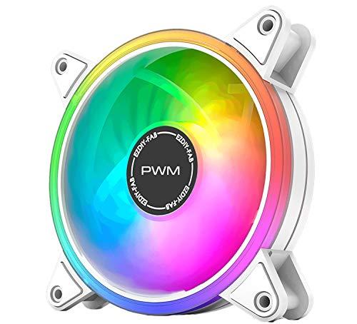 EZDIY-FAB White Moonlight - Ventilador de carcasa (120 mm, RGB PWM, con buje de ventilador RGB PWM, sincronización de la placa base 5 V, ventilador de ordenador ARGB-1pack