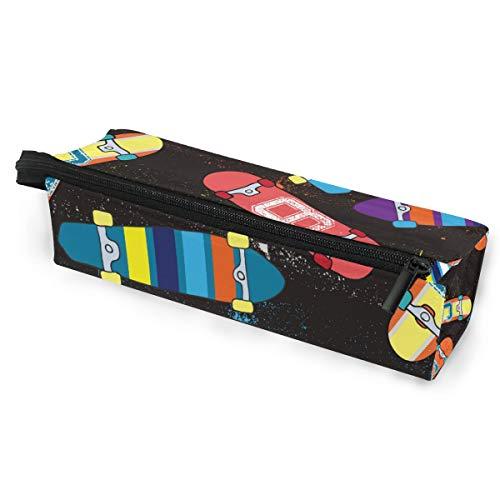 Sonnenbrillen Soft Protector Box Rhombus Federmäppchen Tasche Streifen Skateboard, Multifunktionstasche mit Reißverschluss für Studenten, Kinder, Teenager, Mädchen, Frauen, Männer, Jungen