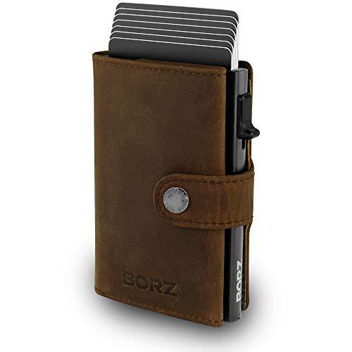 BORZ Prime ® MAXUS Mini Wallet Herren Damen (mit Kartenfach)   Slim Wallet Credit Cardholder   Kreditkartenetui   RFID Schutz   Premium Geldbörse   Kleiner Geldbeutel für Karten & Scheine Echtes Leder