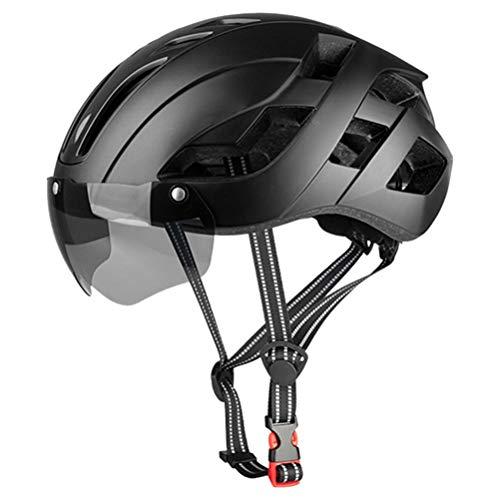 TangYang Bike Cycle Helmet Casco de Seguridad para Ciclismo de Carretera, Casco para Bicicleta con luz Trasera LED Recargable Gafas magnéticas extraíbles Visor Casco de Bicicleta