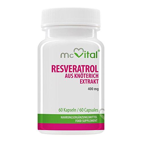 Resveratrol - aus Knöterich Extrakt - Bioaktives Anti Aging Mittel - Antioxidativ - 400 mg - 60 Kapseln